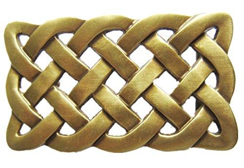 Brass Celtic Knot - JEAN'S FRIEND New 1.58 inches 40 mm Celtic Cross Knot Solid Brass Belt Buckle