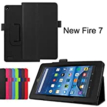 Amazon Fire 7 Case, SATURCASE PU Leather Flip Folding Folio Stand Protective Case Cover for Amazon Kindle Fire 7 Tablet (7.0 inch HD Display - 2015 release) Black