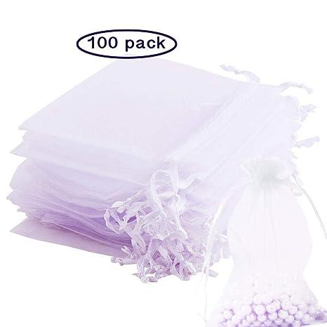 Dawnzen® 100 Piezas Blanco Bolsitas Bolsas de Organza Bolsa para Regalos envolver Boda Bodas Favor Joyas Dulces Caramelo (10 * 15cm)