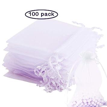 Dawnzen® 100 Piezas Blanco Bolsitas Bolsas de Organza Bolsa para Regalos envolver Boda Bodas Favor Joyas Dulces Caramelo (7 * 9cm)