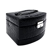 Mermaid Embossed Crocodile Grain Faux Leather Jewelry Organizer- Fashion Cosmetic Box Hanging caseswith Separate Compartments (Black)