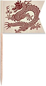 Chinese Dragon Animal Portrait Toothpick Flags Labeling Marking for Party Cake Food Cheeseplate