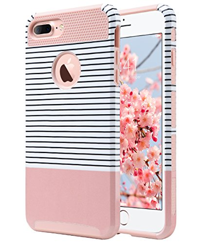 Design Cell Phone Skin (iPhone 7 Plus Case, iPhone 7 Plus Case Rose Gold, ULAK Slim Flexible TPU Rugged Rubber Anti Scratch Hard Cover Thin Case with Design for Apple iPhone 7 Plus 5.5 inch - Minimal Rose Gold Stripes)