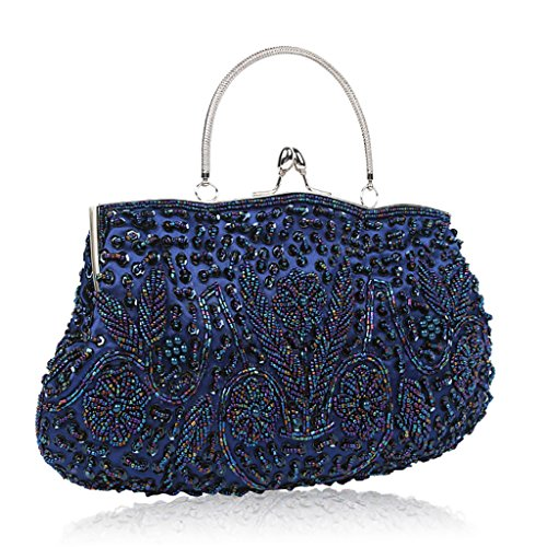 Brown Shoulder Bag Blue Bag Retro Handmade Bag Beaded Lady QJAIQQ Evening Package Dress Bags Messenger wq7pOS6v