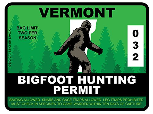 Bigfoot Hunting Permit - VERMONT (Bumper Sticker)