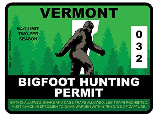 Bigfoot Hunting Permit - VERMONT (Bumper Sticker)
