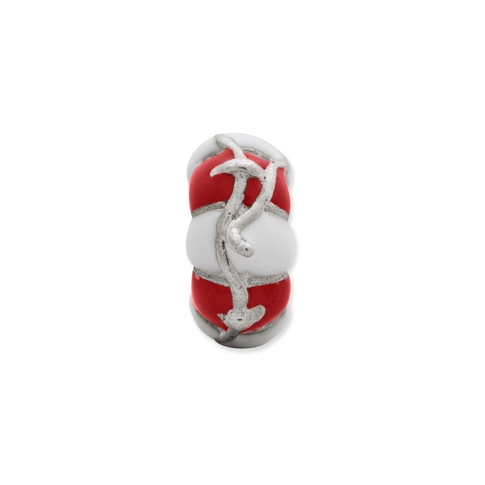 5.5mm x 10mm Solid 925 Sterling Silver Reflections Enameled Life Preserver Bead
