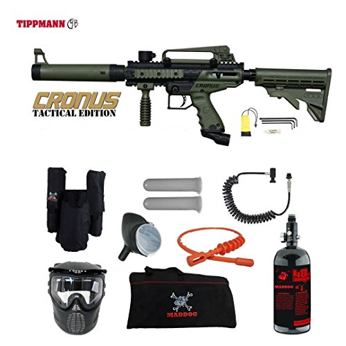 MAddog Tippmann Cronus Tactical Private HPA Paintball Gun Package - Black/Olive