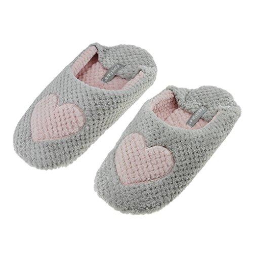 Women Indoor Slip-on Soft Cotton Warm Fleece Anti-skid Waterproof Sole Slippers Cozy Home Footwear Shoes Gray Love XYgU2FQP7