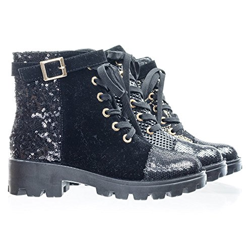 Lace Up Combat Boots w Sequins & Faux Fur Lining in GoldLace Or -