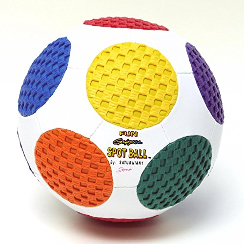 FUN GRIPPER 8.0 Retro Spot Soccer Ball (White) w/asst colors spots SIZE (4) By:Saturnian I P.E. Supplier - Gripper Soccer Ball