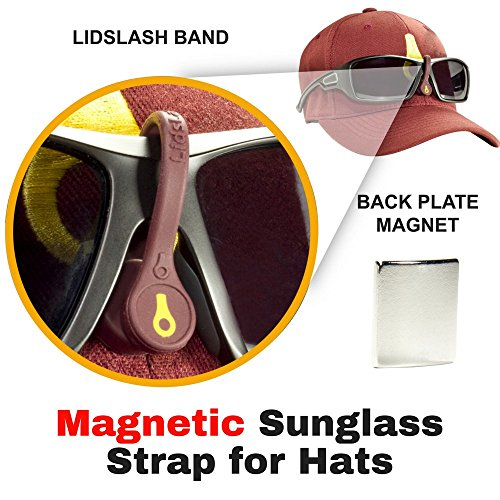 LidsLash Magnetic Sunglass Strap Eyewear Retainer for hats - Glasses strap is perfect for hunting, fishing, golf, or any outdoors activity. Keep sunglasses High and Tight on any hat brim - MRN / GLD