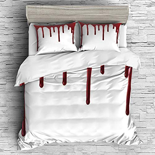 4 Pcs 3D Printed Young Bedding Collections Lightweight, Hypoallergenic(Singe Size) Horror,Flowing Blood Horror Spooky Halloween Zombie Crime Scary Help me Themed Illustration,Red White -