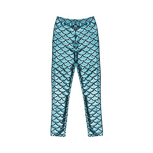 TFJH Kids Baby Girls Mermaid Fish Scale Stretchy Leggings Pants Cyan 130