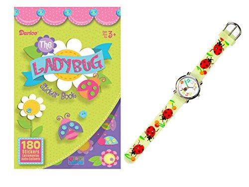 - WGI Lucky Lady Bug Watch and Sticker Fun Set, Clear Green