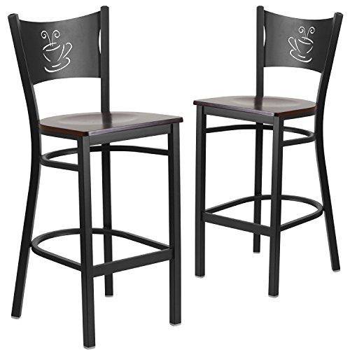 Flash Furniture 2 Pk. HERCULES Series Black Coffee Back Metal Restaurant Barstool – Walnut Wood Seat