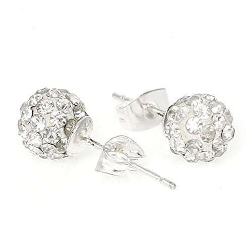 ed52fb9fe8591 Birthstone Earrings 8mm Disco Ball Stud Earrings w/ Swarovski Crystal Pave  Pick Your Color
