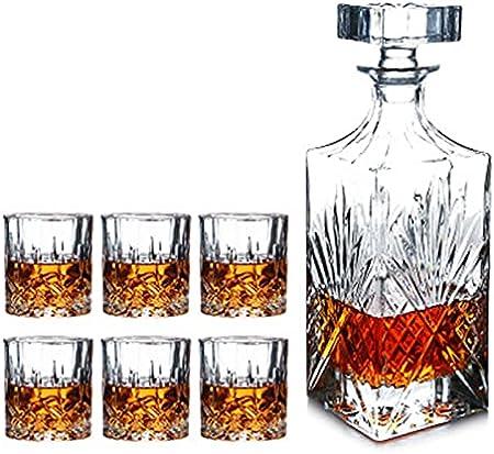 QiHaoHeji Juego de decantador de whisky y cristal, incluye 1 decantador y 6 vasos (color transparente, tamaño: 7 piezas)