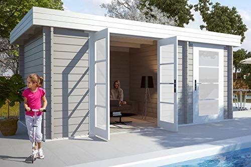 Carlsson Alpholz Modern-E - Caseta de jardín de madera maciza con 28 mm de grosor de pared, incluye material de montaje, tamaño: 470 x 320 cm, tejado plano: Amazon.es: Jardín