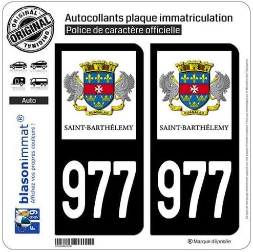 Collectivit/é blasonimmat 2 Autocollants Plaque immatriculation Auto 977-H Saint-Barth/élemy