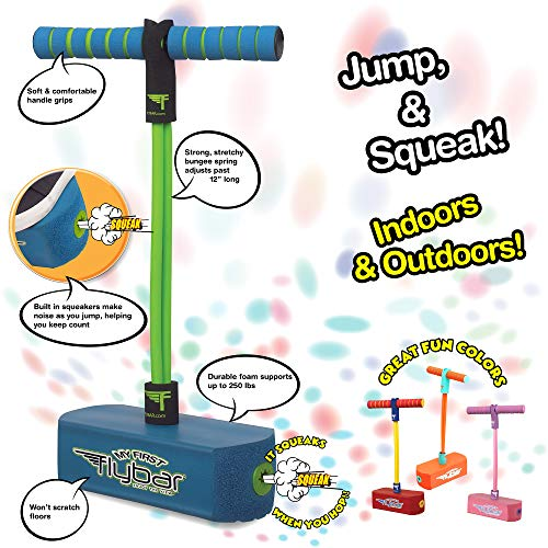 Image of the Flybar My First Foam Pogo Jumper for Kids Fun and Safe Pogo Stick for Toddlers, Durable Foam and Bungee Jumper for Ages 3 and up, Supports up to 250lbs (Blue)
