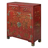 Convenience Concepts Touch of Asia 2-Drawer Hall Console with Shelves, Red
