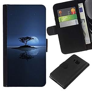 NEECELL GIFT forCITY // Billetera de cuero Caso Cubierta de protección Carcasa / Leather Wallet Case for HTC One M9 // Solitaria Moon Lake