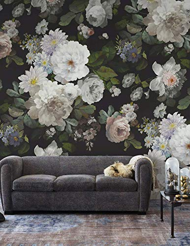 (Murwall Dark Floral Wallpaper White Flower Wall Mural Peony Blossom Wall Print Classical Home Decor Cafe Design)