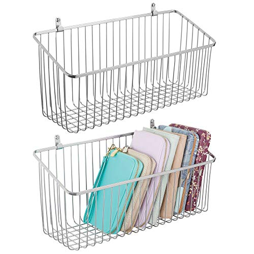 mDesign Portable Metal Farmhouse Wall Decor Angled Storage Organizer Basket Bin for Hanging in Entryway, Mudroom, Bedroom, Bathroom, Laundry Room - Wall Mount Hooks Included, Large - 2 Pack - Chrome