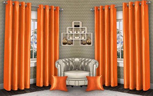 Generic Swisston Fab 4 Piece Eyelet Polyester Curtain Set   5ft, Orange m38