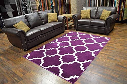 Premium 3D Effect Hand Carved Modern 5 X7 Contemporary Rug 4518 Purple by Artistry Rugs