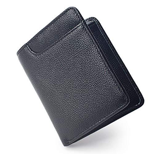 (RFID Blocking Ultra Thin Bifold Genuine Leather Minimalist Front Pocket Slim Wallets for Men (Pebbled Black))