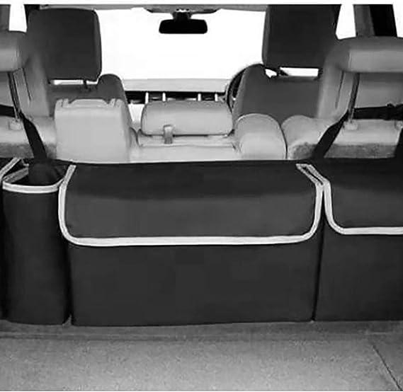 Biobey Auto Boot Organizer Auto Kofferraum Veranstalter Heavy Duty Autorücksitz Organizer 4 Taschen Groß Aufbewahrungstasche Tasche Back Seat Aufhänger Für Platzsparende Schwarz 1pc Küche Haushalt