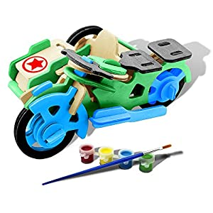 Bfun Woodcraft 3D Puzzle Assemble and Paint DIY Toy Kit, Motor Tricycle