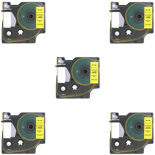 - Molshine 5 Pack 18058 Heat-Shrink Tubes Cable Label Compatible for DYMO Black on Yellow (0.75'' 3/4