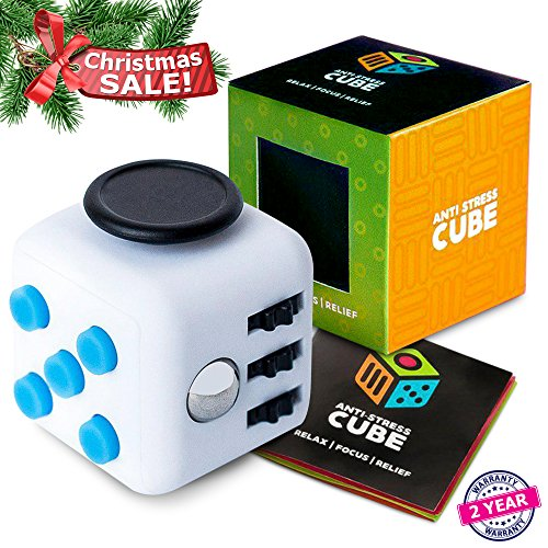 Figit Cube Prime - Exclusive Quality Stress Toys (White & Blue Classic Stress Cube)