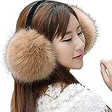 WenMei Women Headband Earmuffs Winter Warm Folding Fox Fur Earmuffs (Khaki)