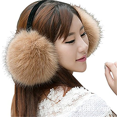 WenMei Women Headband Earmuffs Winter Warm Folding Fox Fur Earmuffs (Fox Fur Earmuffs)