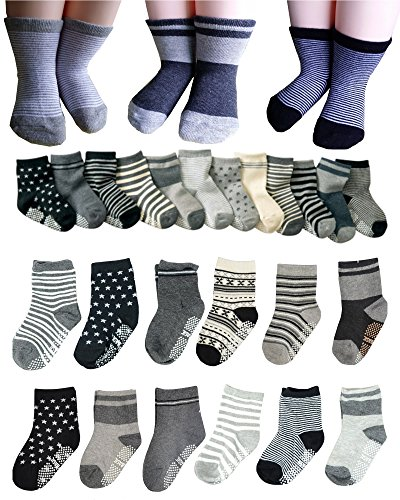 Price comparison product image BS® 6 Pairs 2-3 Years Baby Boys Toddler Anti Slip Skid Slipper Stretch Knit Socks + Gift bag + Gift Card, Stripes Star Footsocks sneakers Socks, Sole Length 3.9inch - 4.7inch