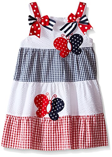Rare Editions Little Girls Color Block Seersucker Dress, White/Red/Navy, (Rare Editions Butterfly Dress)