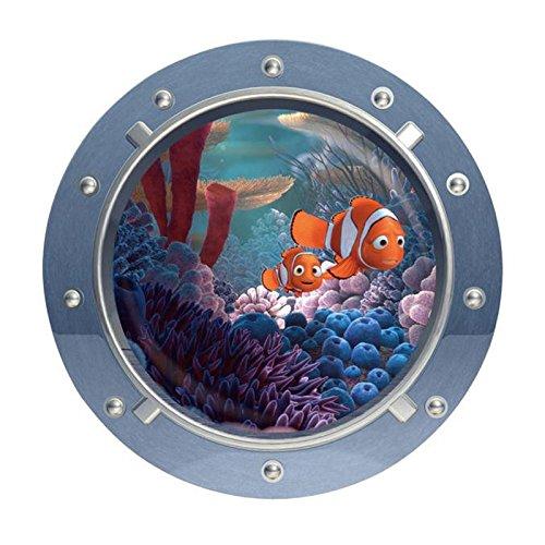 JMHWALL cute cartoon coral fish turtle sea world animals 3D window submarine home decor wall sticker for washroom living room decal xmas 43X43CM,W024 Fish Animal Wall Clock