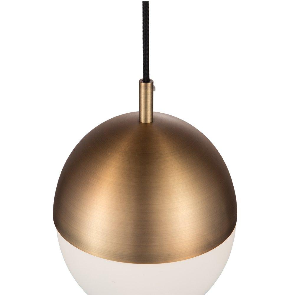 JINZO Glass Globe Pendant Light Aged Brass 1-Light Pendant