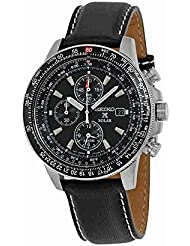 Seiko Mens SSC009P3 Black Dial Flight Watch