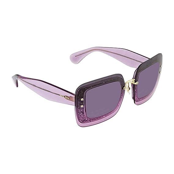 d793761a07ef Miu Miu MU01RS 101153 Transparent Violet MU01RS Square Sunglasses Lens  Category  Amazon.co.uk  Clothing