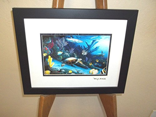 (By Wyland Living Reef (Turtle) Double Matted GoldFoil Stamp Framed)