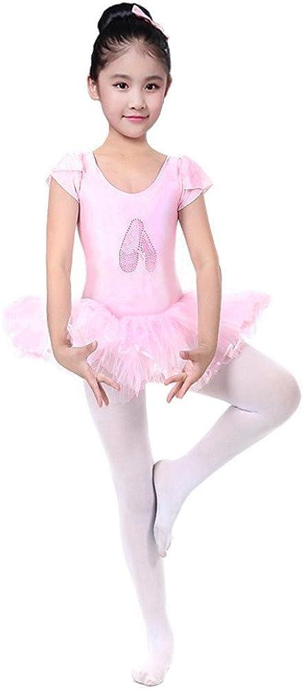 MCYs Kinder M/ädchen Ballett Trikot mit Kleid aus Gaze Balettanzug f/ür Tutu mit lagigem T/üll und Einer Lage Spitze Body Ballettkleidung Rock Ballettanzug Ballettkost/üm Tanzkleidung