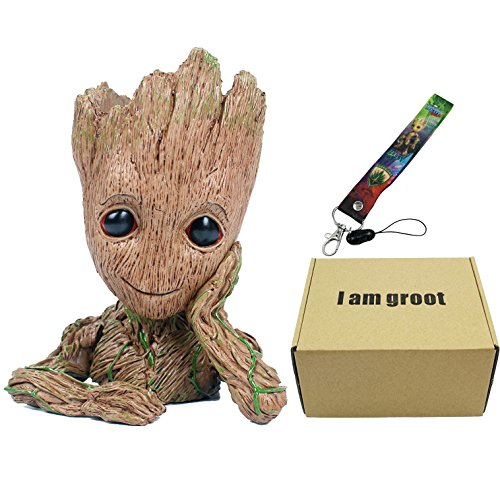 GuangTouL Groot Flowerpot Guardians of The Galaxy Baby Action Figures Cute Model Toy Pen Pot With Groot Baby Lanyard