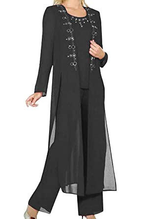 ca24c7af9a5e Fitty Lell Women s Black Chiffon 3-Pieces Mother of Bride Pant Suit Beaded  Women Formal