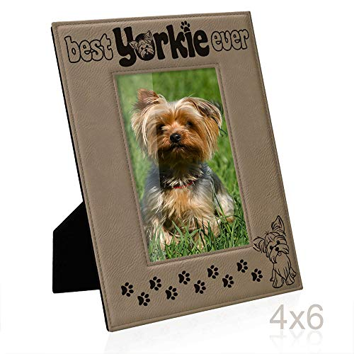 Kate Posh Best Yorkie Ever Engraved Leather Picture Frame, Pet Memorial Gifts, New Puppy Gifts, Dog Lover Gift, Paw Prints on My Heart (4x6 - Pictures Yorkie