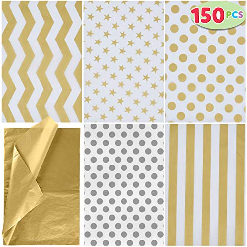 "JOYIN 150 Piece Christmas Metallic Silver and Gold Tissue Paper Assortment (20"" x 20"" inches) Holiday Gold Gift Wrapping for Party Favors Goody Bags, Xmas Presents Wrapping Stocking Stuffers"
